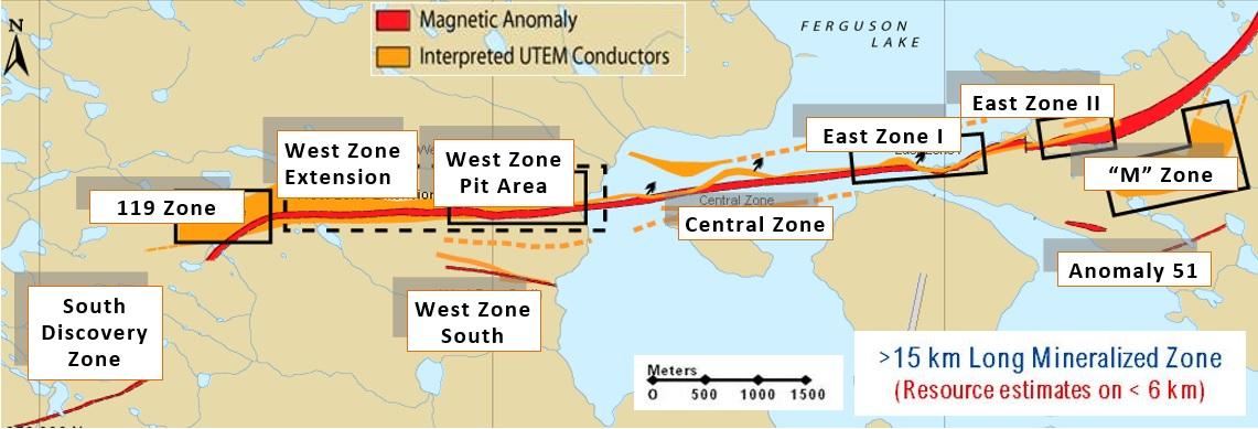 15 km long mineralized zone