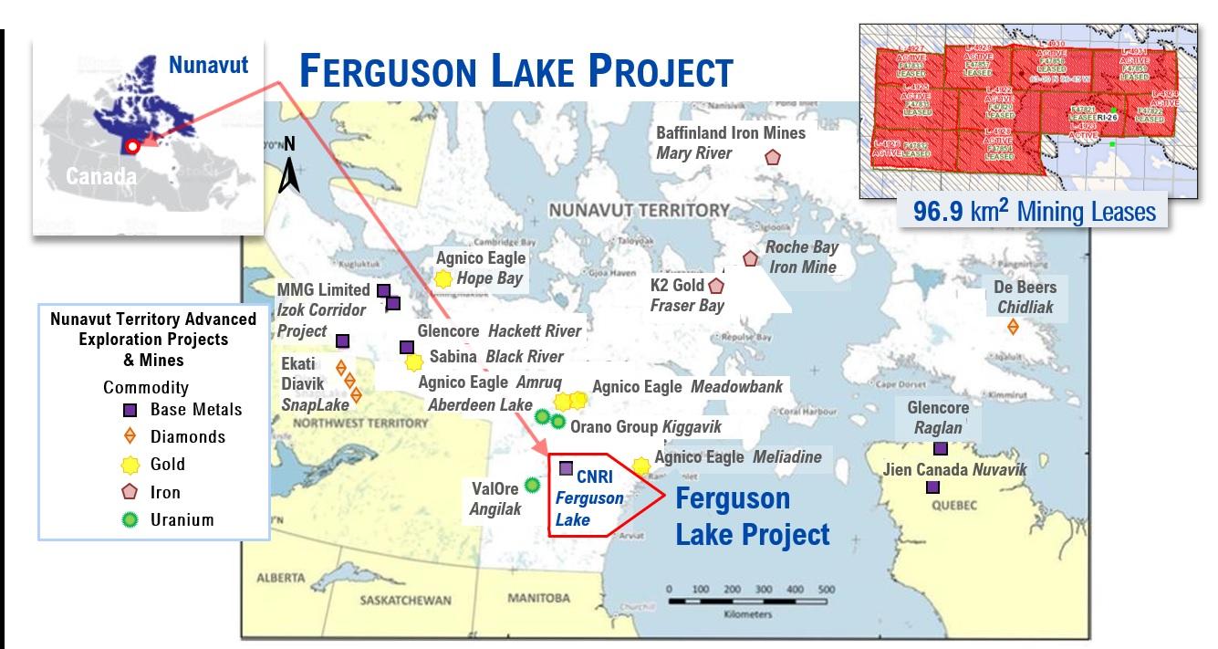 Ferguson Lake And Other Nunavut Mines Map