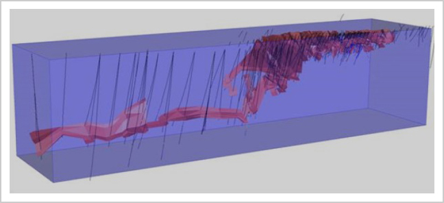 Ferguson-Lake-West-Zone 3D View of Wire-Frames Drill-Holes Block Model Outline-Looking-NE
